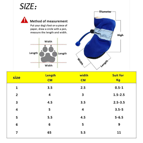 Concise Size Guide - 4Pcs/set Solid Color Puppies Kitties Waterproof Anti-slip Concise Pet Footwear | Attapet