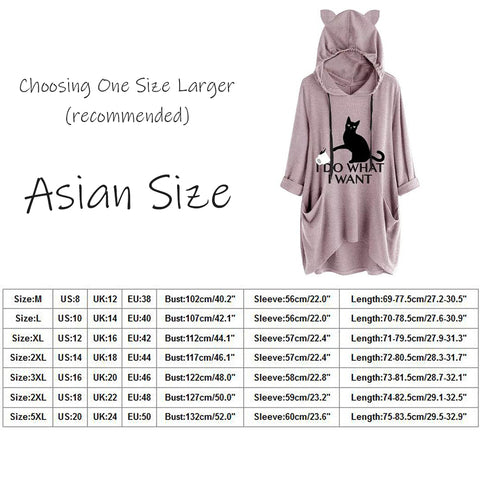 """Size Guide - Plus Size """"I Do What I Want"""" Cat Ear Hoodie Women's Long Hoody Blouse, Long Sleeve 