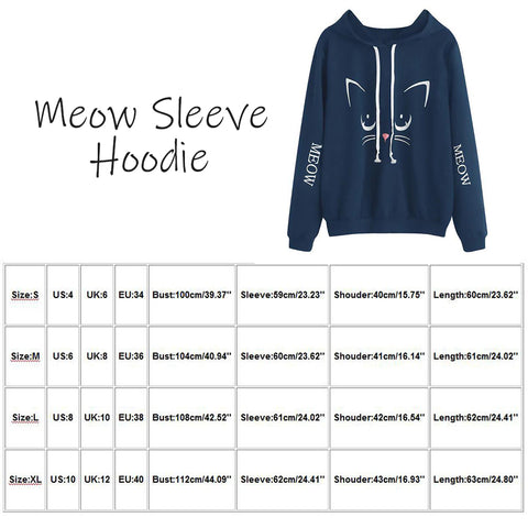 Size Guide - Meow Long Sleeve Cat Look Printing Women Pullover Hoodie   Attapet