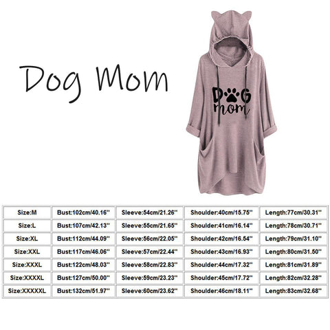 Size Guide - Plus Size Dog Mom Printing Dog Ear Hoodie Women's Long Hoody Blouse, Long Sleeve
