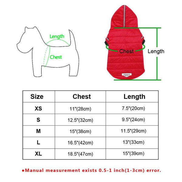 Size Guidance - Solid Color Red/Grey Winter Warm Dog Jacket Coat With Buttons