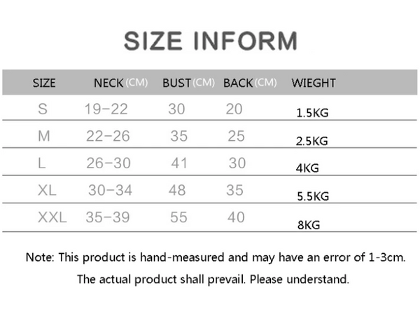 Information of Measurement - How to Measure Your Pet - Winter Cat/Dog Down Hoodie Jacket With Removable Velvet Hoodie Cap | Attapet.com
