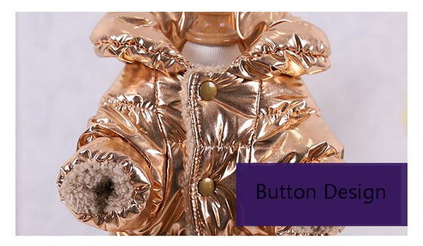 Product Detail Dispaly 2 - Reflective Solid Color Pet's Down Jacket With Buttons | Attapet.com