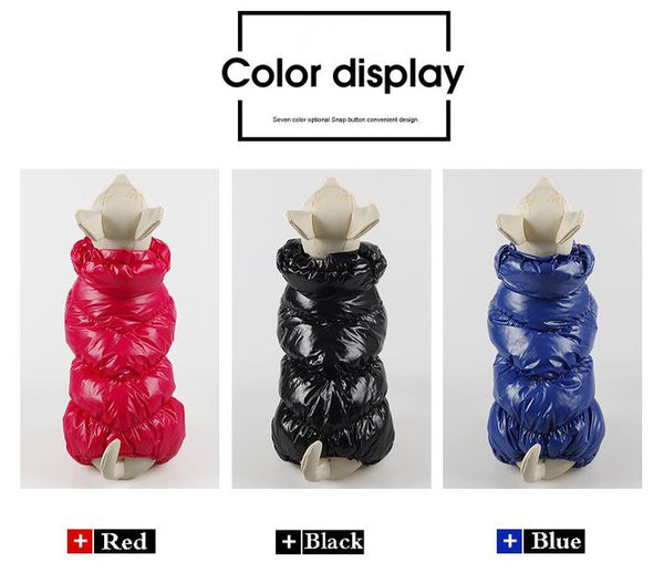 Color Display(Black, Red, Blue) - Reflective Solid Color Pet's Down Jacket With Buttons | Attapet.com