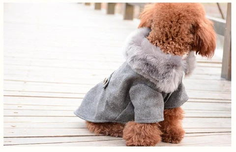 Puppy Model Display 2(Color Grey) - Winter Warm Gentle Formal Pet Coat for Kitty & Puppy | Attapet.com
