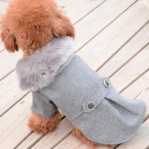 Puppy Model Display(Color Grey) - Winter Warm Gentle Formal Pet Coat for Kitty & Puppy | Attapet.com