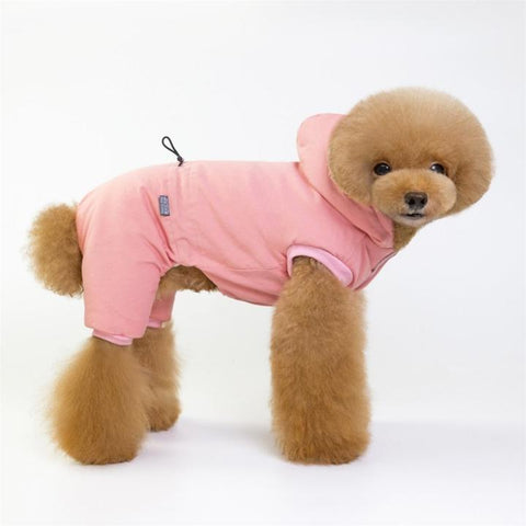 Color Pink Model 1  - Minimalism Solid Color Cotton Pet Hoodie With Buttons | Attapet.com