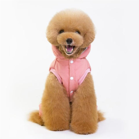 Color Pink Model 2  - Minimalism Solid Color Cotton Pet Hoodie With Buttons | Attapet.com