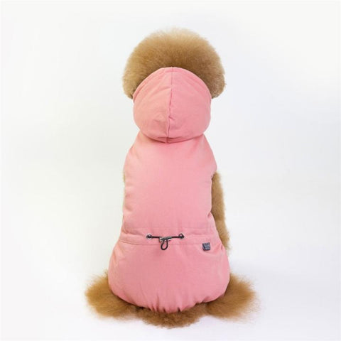Color Pink Model 3  - Minimalism Solid Color Cotton Pet Hoodie With Buttons | Attapet.com