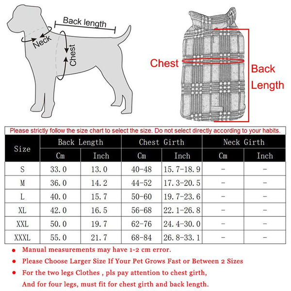 Size Guide - Classic Plaid Reversible Vest Waterproof Jacket for Medium & Big Dogs   Attapet