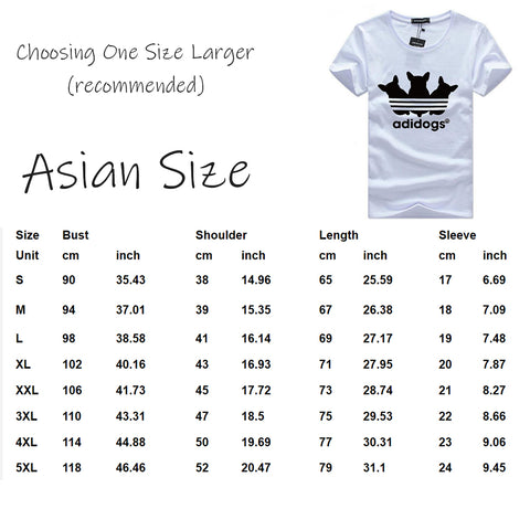 Size Guide - Funny Cat Women's Summer Tees Adidogs, Short Sleeves