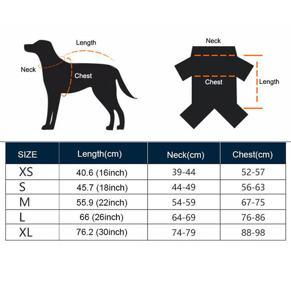 Size Guide - Waterproof Large Dog Thermal Harness Jacket | Attapet