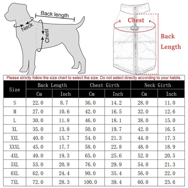 Size Guide - Waterproof Pet Vest Jacket for All Size Dogs   Shop Attapet Now!