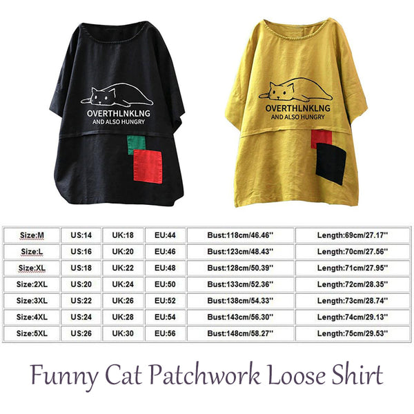 """""""Overthinking And Also Hungry"""" Cartoon Cat Printing Linen Patchwork Short Sleeve Casual Cute T-Shirt 