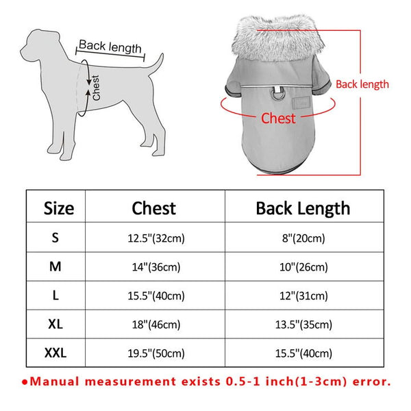 Stylish Dog's Leather Jacket Measurement Chart - Waterproof Windproof Winter Leather Puppy Jacket Coat with Faux Fur Collar | Attapet.com