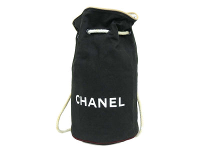 [CHANEL Chanel] Logo drawstring type beach bag shoulder canvas black black [20191031]