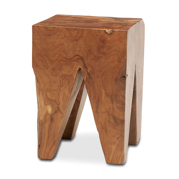 Solid Teak Wood Stool - Square - Hausful - Modern Furniture, Lighting, Rugs and Accessories