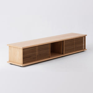 "Plank 83"" Low Slat Media Unit - Hausful - Modern Furniture, Lighting, Rugs and Accessories"