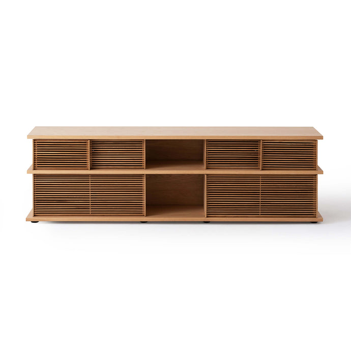 "Plank 83"" Slat High Media Unit - Hausful - Modern Furniture, Lighting, Rugs and Accessories"
