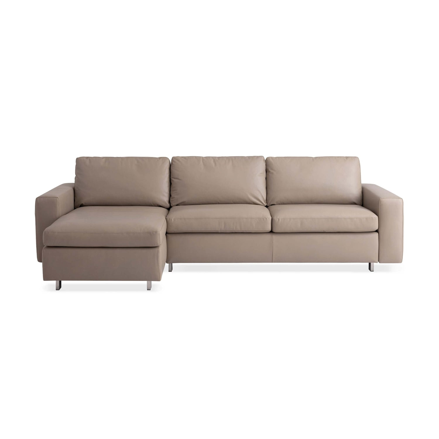 - Reva 2-Piece Sectional Sleeper Sofa With Storage Chaise - Leather