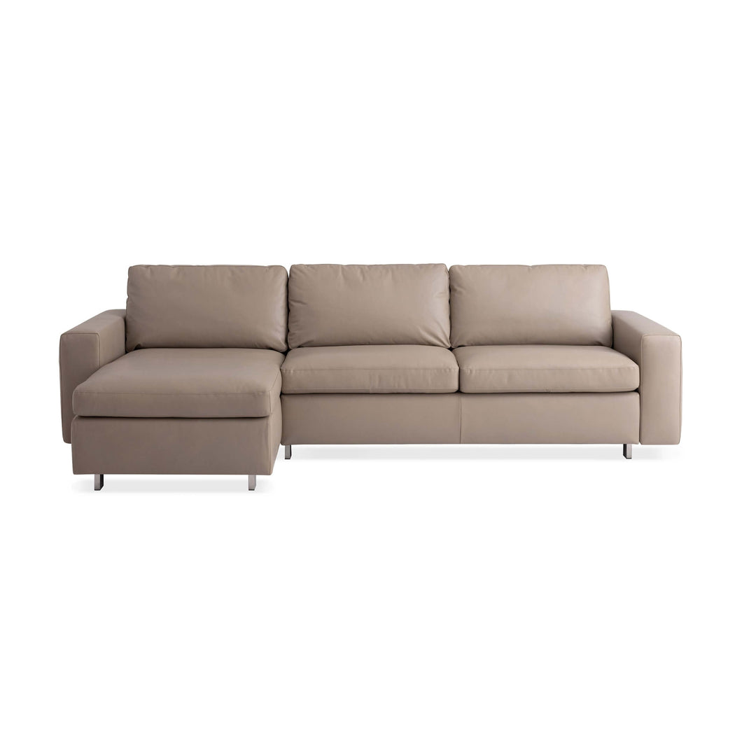 Reva 2-Piece Sectional Sleeper Sofa with Storage Chaise - Leather - Hausful - Modern Furniture, Lighting, Rugs and Accessories