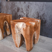 Load image into Gallery viewer, Solid Teak Wood Stool - Square - Hausful - Modern Furniture, Lighting, Rugs and Accessories