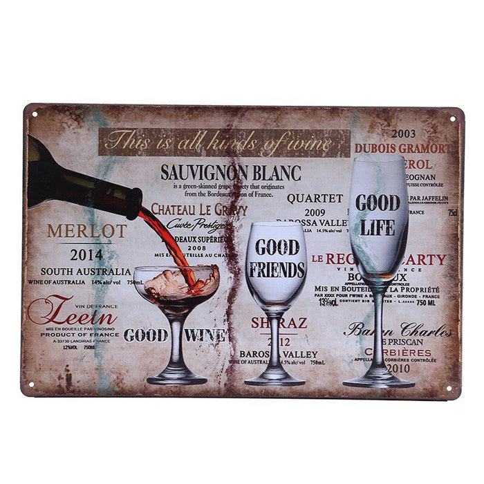 Cheers & Drinking Wine Beer Poster Wall Metal Signs