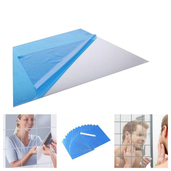 16 Pcs Self Adhesive Square Sticker Mirror Wall