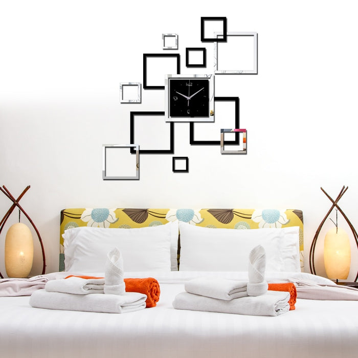 Horloge Mural Quartz Squares Acrylic Mirror Sticker Watch
