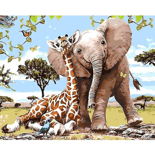 Giraffe Bird & Elephant Frameless Painting Wall Art