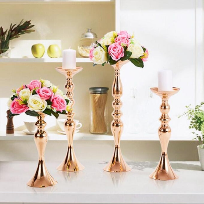 Golden Candle Holder Flower Vase Centerpiece