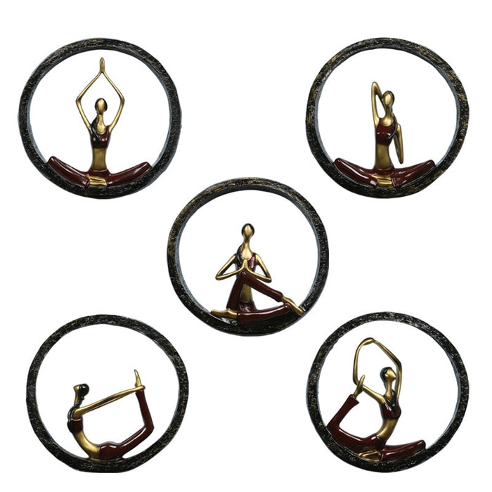 Modern Abstract Yoga Pose Statue Wall Hanging Sculptures