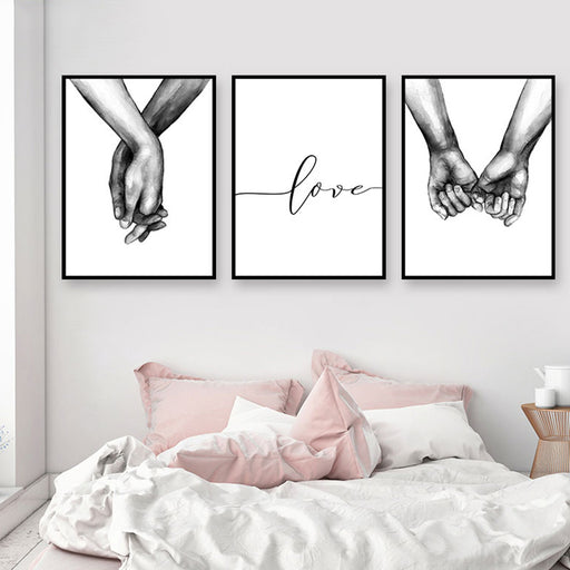 Black & White Holding Hands Picture Canvas Lover Posters & Prints
