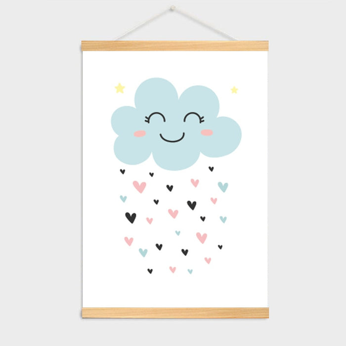Wooden Frame Stars & Clouds Painting Wall Pictures