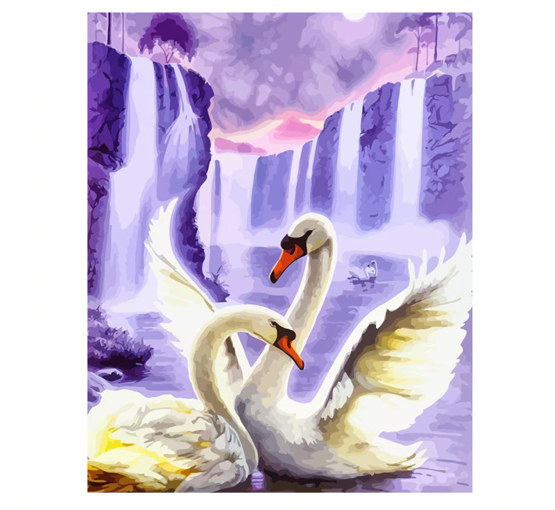 Frame Swan Animals Painting Numbers Wall Art Acrylic Canvas