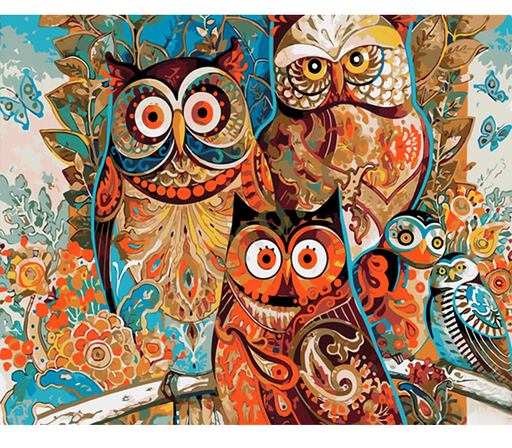 Vintage Owl Family Painting Wall Unique Art Decoration