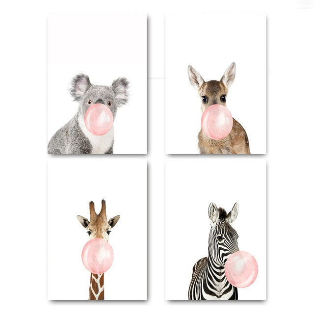 Giraffe & Zebra Animals Posters & Prints Wall Decorative Art