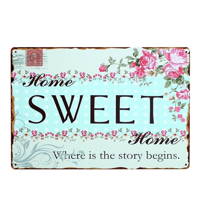 Family Quotes Iron Metal Poster Tin Wall Decorative Art Painting