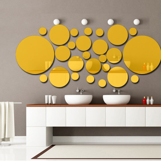 26 Pcs Acrylic DIY Decorative Mirror Wall Stickers