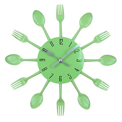 Metal Kitchen Spoon & Fork Creative 3D Clock