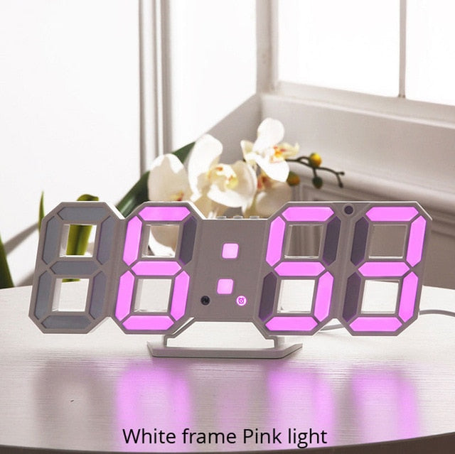 3D LED Wall Clock Modern Digital Design Decoration