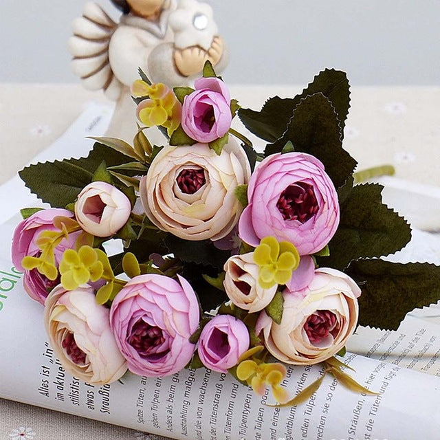 10 Head / 1 Budle Silk Tea Roses Artificial Flower Decoration
