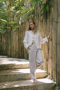 High waisted wide-leg pants made from 100% Linen spun from Belgian flax plant in natural