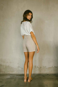High-waisted Linen Shorts in Natural Color Back view