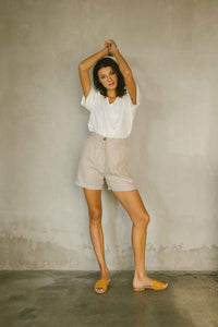 High-waisted Linen Shorts in Natural Color