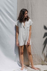 Linen Rayon relaxed fit playsuit in natural color
