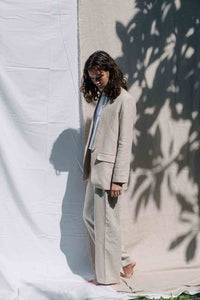 Linen blazer in natural color for female