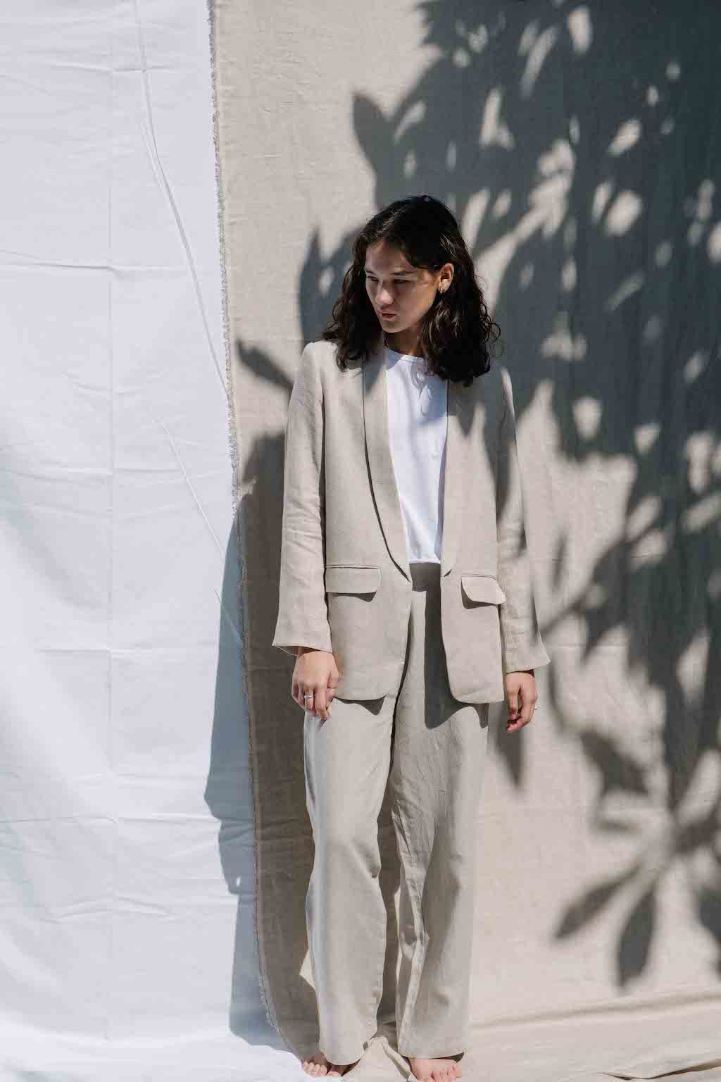Linen blazer in natural color