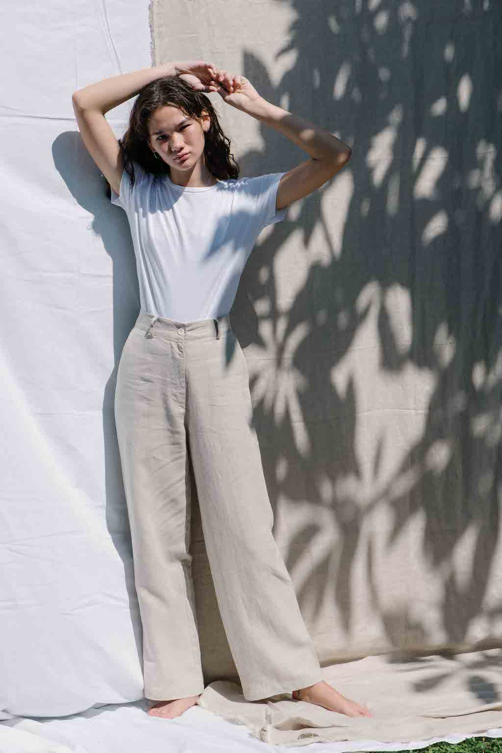 High waisted wide-leg pants made from 100% Linen spun from Belgian flax plant in natural color