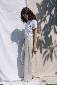 High waisted wide-leg pants made from 100% Linen spun from Belgian flax plant in natural color side view
